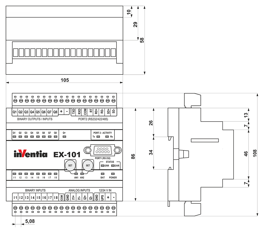 EX-101 - Modbus RTU Slave I/O Module - Inventia pl