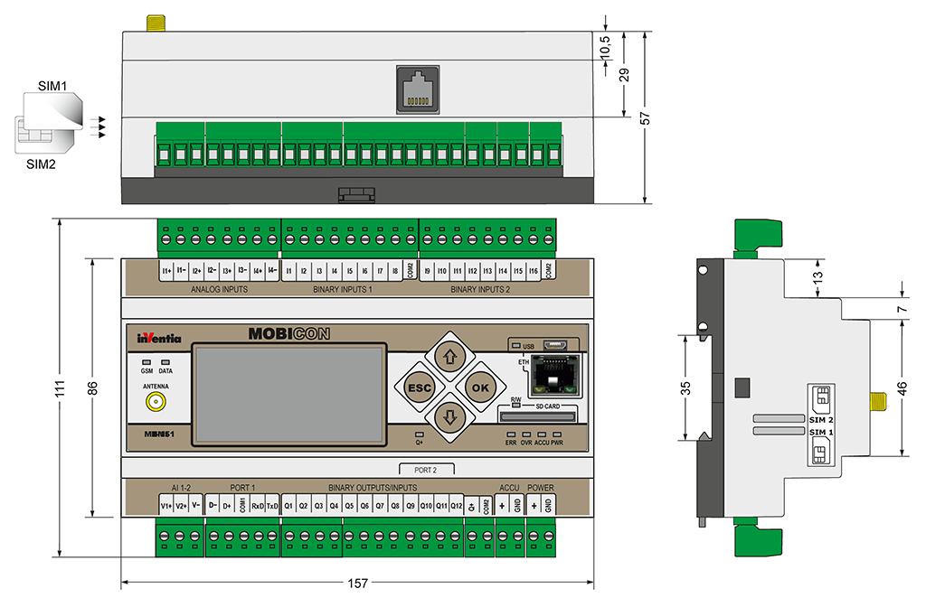 MT-151 HMI V2 - mobile controller for 2G/3G telemetry