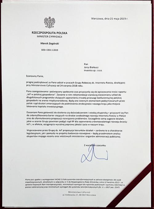 Ministerstwo Cyfryzacji - podziękowania
